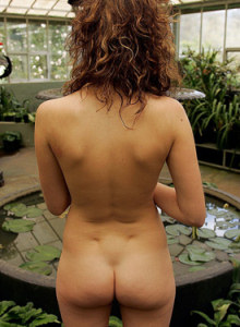 Busty beauty Pam nude in the glass house