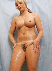Blonde chick Adelaide with hairy slut and puffy nipples is taking a bath