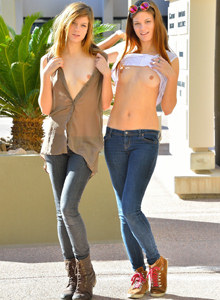 Twins Romi and Raylene in tight blue jeans are the sexy puffy nipples city flashers - one sister is shaved other has hairy pussy