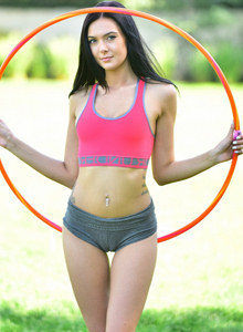 Exciting young sweet Marley is playing hula hoop outside in tight grey panties with cameltoe and showing her nude body with puffy nipples and hairy beaver at home