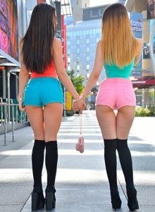 Two sexy girls Lana and Stella wears petite colourful shorts on tasty apple asses and cameltoe
