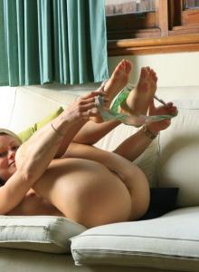 Shy blonde Zena has tasty apple ass in sexy fashion underwear