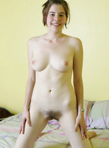Hairy pussy Maria Gold on her bed