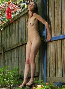 Puffy nipples Leah in the garden taking away her sexy red panties