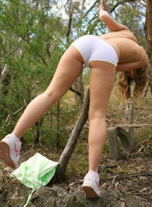 Keira in white panties and without in the forest