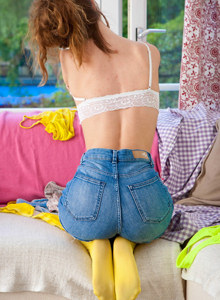 Hairy slut Elva in yellow pantyhose, tight jeans shorts and charming white underwear
