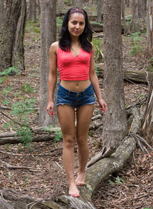 Puffy nipples Dallas in the forest in tight denim shorts with cameltoe
