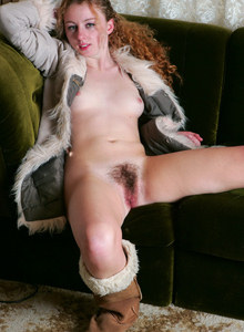 Exciting hairy pussy Carolyn in tight denim jeans