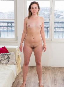 Sporty hairy pussy girl Ashley in spandex got puffy nipples