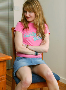 Beautiful young girl Allanah in tiny jeans skirt