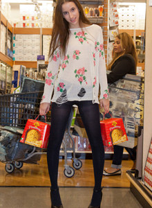 Belle Knox wears black pantyhose beyond shopping