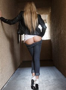 Amazing blonde Cole Esenwein is in the jeans suit flashing perfect tasty nude ass