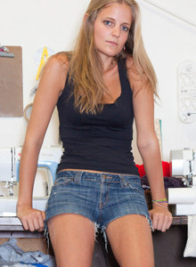 Jane Franklin is in the art school wearing tight jeans shorts