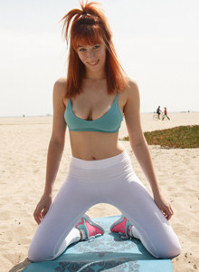 Beach redhead Penelope Lynn goes in for yoga in tight white spandex with cameltoe