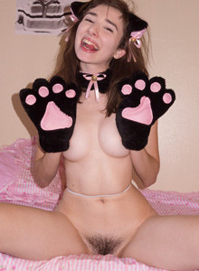Wonderful teen kitten Yvette Nolot with the white nylon covered body has hairy beaver