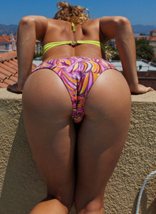 Serina Cardoni is in the pool in bikini showing tasty apple exciting bikini ass