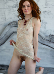 Redhead beauty queen Adel with hairy bush