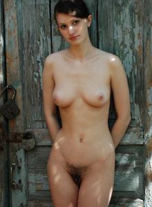 Hairy bush Elenia is secret in her garden
