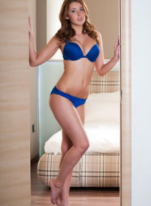 Amazing Davina wearing sexy blue fashion underwear