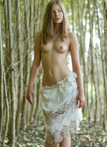 Puffy nipples sexy cute Nastya is nude in the forest