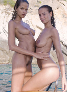 Hairy beaver busty sexy brunettes with erected nipples Meli and Simona have unforgettable nude trip by the boat