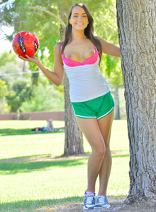Firm soccer girl Jeri with erected nipples