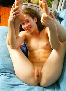 Beautiful teen Annabel in tiny blue dress