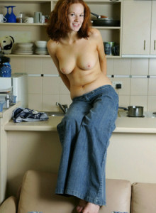 Big boobs Kit in tight denim jeans and jeans top got puffy nipples playing in the kitchen