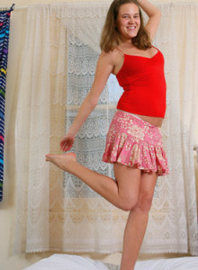 Dancing Dulcie in red top and dress got puffy nipples and white panties covering hairy beaver