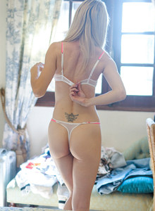 Exciting blonde Chloe is at home