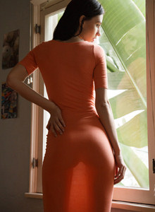 Exciting Yana Kushnir is walking outside with tasty apple ass in tight jeans and at home in sexy dress