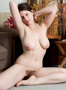 Hairy pussy Alma in her flat