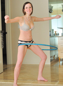 Hula hoop playing baby Victoria has sexy big clit