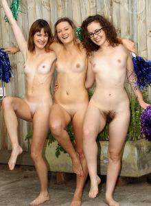 Nude backyard gymnastics in tight lycra spandex for sexy puffy nipples trio Georgia, hairy pussy Rosie and Roxie
