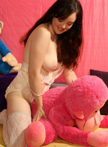 Playful busty Dorian in white stockings with her toys has hairy slut