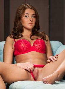 Wonderful Davina in sexy red lace underwear