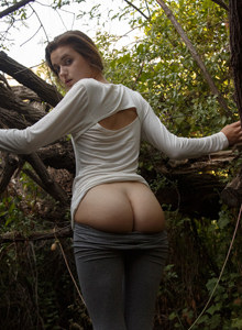 Young Alex Mae is walking in the upscale part in tight grey spandex
